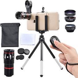 Apexel 5 in 1 Camera Lens Kit - Telephoto + Fisheye + Wide A