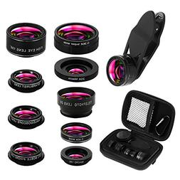 9 in 1 Phone Lens Kit, 2X Zoom Telephoto Lens + 198° Fishey