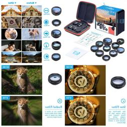 Apexel 10 in 1 Cell Phone Camera Lens Kit Wide Angle & Macro