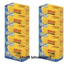10 Rolls Kodak GC 135-24 Max 400 Color Print 35mm Film ISO 4