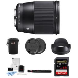Sigma 16mm f/1.4 DC DN Contemporary Lens for Sony with 64GB