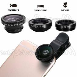 3 in1 Clip On Camera Lens Kit Wide Angle Fish Eye Macro for