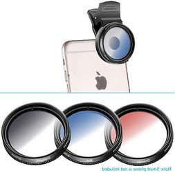 Neewer 37mm Cell Phone Camera Lens Filter Graduate Blue Oran