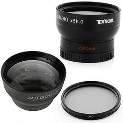 37mm Wide Angle Lens, Macro, Telephoto Lens, CPL for Sony HD