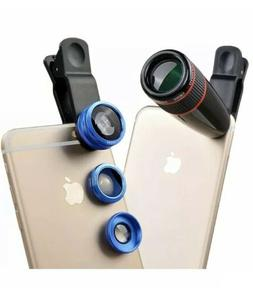 Apexel 4 in 1 Camera Lens 12x Black Telephoto Lens/ Blue Fis