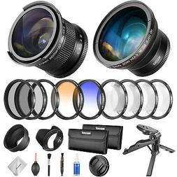 Neewer 52mm Camera Fisheye Wide Angle Lens and Filter Set Ki