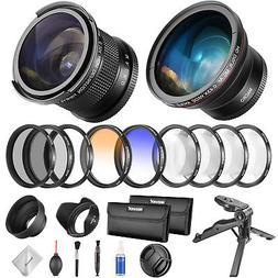 52mm Camera Fisheye Wide Angle Lens and Filter Set Kit for N