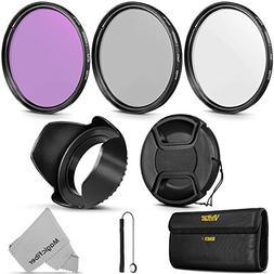 55MM Vivitar UV CPL FLD Professional Lens Filter Kit and Acc