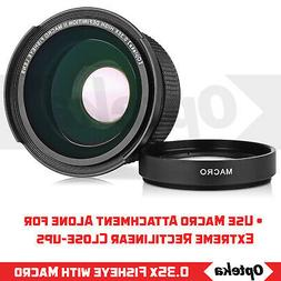 Opteka 0.35x Super Wide Angle Panoramic Macro Fisheye Lens F