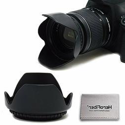 58MM Hard Lens Hood for 58mm Lenses and Cameras + Herofiber