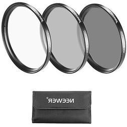 Neewer 62MM Lens Filter Kit: UV Filter + CPL Filter + ND4 Fi