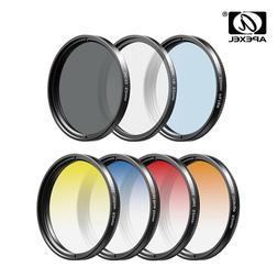 APEXEL 7in1 Gradient Filter Kit Grad Blue Red CPL ND Star UV