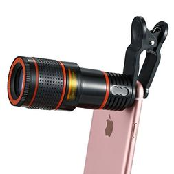 Apexel Cell Phone Camera Lens Kit, 12X Optical Zoom Universa