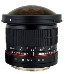 Rokinon HD8M-S 8mm f/3.5 HD Fisheye Lens with Removeable Hoo