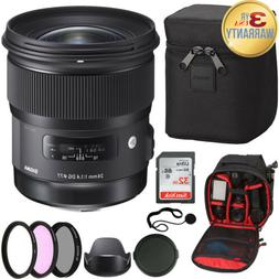 Sigma 24mm F1.4 ART DG HSM Lens for Nikon + 32GB SDHC Card +