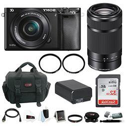 Sony Alpha A6000 Mirrorless Digital Camera w/ 16-50mm + 55-2