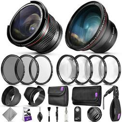 58mm Accessory Kit for Canon EOS Rebel DSLR Bundle with Fish