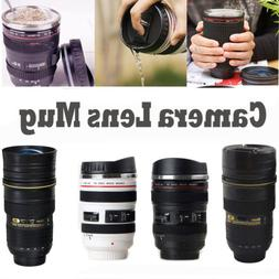Camera Lens thermos Cup Coffee Travel Stainless Steel Mug wi
