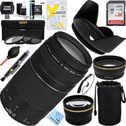 Canon EF 75-300mm F4-5.6 III Lens + 16GB Wide-Angle & Teleph