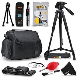 "Premium Camera Case + 72"" Tripod w/3 Way Pan-head + Access"