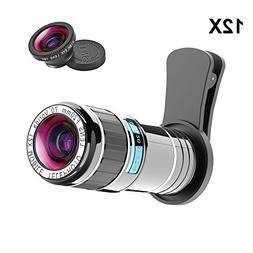 Cell Phone Camera Lens Kit, Vorida 12X Telephoto Lens Clip-o