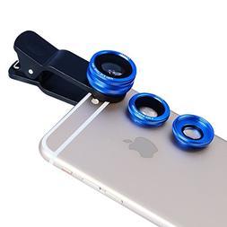 New Clip Lens Apexel 3 in 1 Phone Lens Kit 180 Degree Fishey