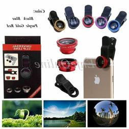 Clip-on 3in1 Fish Eye,Macro Camera,Wide Angle Lens For Apple