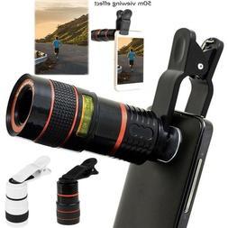 Clip-on 8X/12x Optical Zoom HD Telescope Camera Lens for Uni