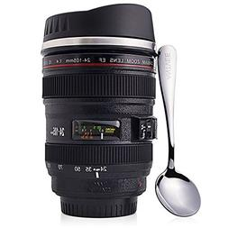 Coffee Mug with Spoon - Camera Lens Thermos - 13oz Cup - Sta