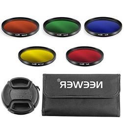 Neewer 55mm Complete Full Color Lens Filter Set for Canon DS