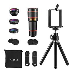 Criacr 4 in 1 Cell Phone Camera Lens Kit, 12X Zoom Telephoto
