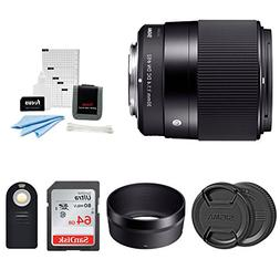 Sigma 30mm F1.4 DC DN Lens for Sony E Mount Bundle with 64GB