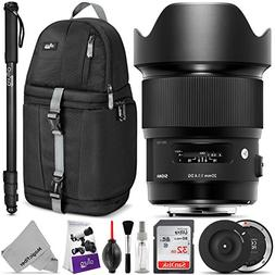 Sigma 20mm F1.4 Art DG HSM Lens for Canon EF DSLR Cameras w/