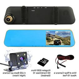 "TENNBOO 4.3"" Full HD 1080P Dual Lens Car Dash Camera 170°Wi"