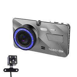 YQST Full HD 1080P Dual Lens Car DVR 4 Inch Dash Video Camer