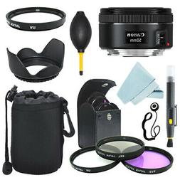 Canon EF 50mm f/1.8 STM Lens + Lens Hood + Filter Kit + Case