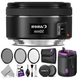 Canon EF 50mm f/1.8 STM Lens w/Essential Photo Bundle - Incl