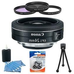 Canon EF-S 24mm f/2.8 STM Camera Lens Bundle w/ 3 Pc. 52mm F