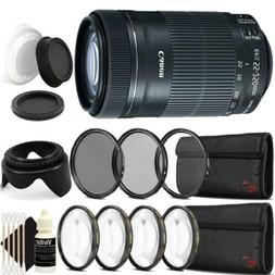 Canon EF-S 55-250mm F4-5.6 IS STM Lens w/ Accessory Bundle f
