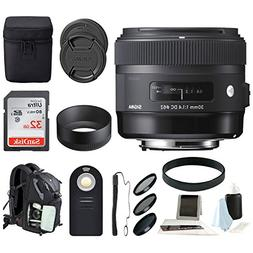 Sigma 30 mm f/1.4 Art Lens for Canon with Backpack Accessory