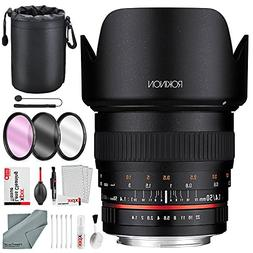Rokinon 50mm f/1.4 AS IF UMC Lens for Sony E-Mount with Delu