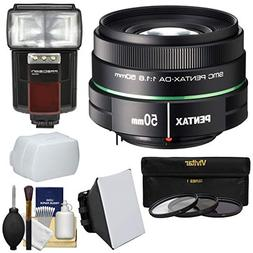 Pentax 50mm f/1.8 DA SMC Lens with 3 UV/CPL/ND8 Filters + Fl
