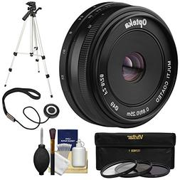 Opteka 28mm f/2.8 HD MF Prime Pancake Lens with 3 Filters +