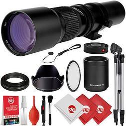 Opteka 500mm/1000mm f/8 Manual Telephoto Lens + Tripod Kit f