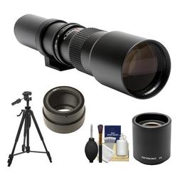 Rokinon 500mm f/8 Telephoto Lens & 2x Teleconverter  with Tr