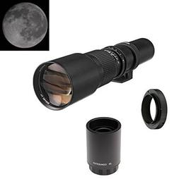 500mm f/8 Telephoto Manual Focus Lens + 2x Teleconverter = 1
