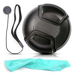Front Center Pinch Lens Cap Cover Protector + Cap Keeper + C