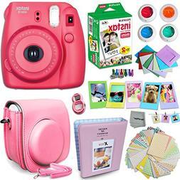 FujiFilm Instax Mini 8 Camera RASPBERRY + Accessories KIT fo