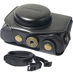 Clanmou G7 X MarkII Protective Leather Camera Case Bag Compa