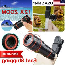 HD 12x Optical Zoom Clip on Camera Lens Phone Telescope For